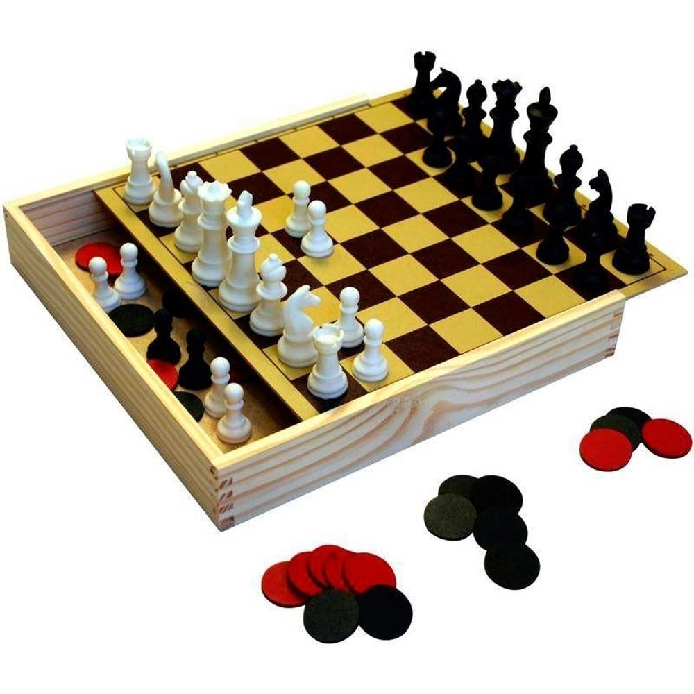 Jogo De Tabuleiro Xadrez Escolar Junior + Jogo De Damas Carimbras 3410