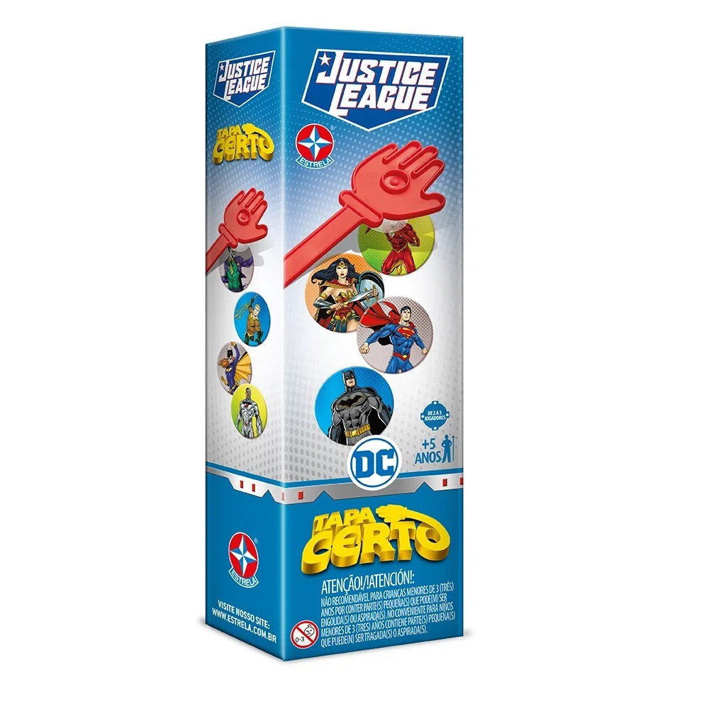 Jogo Divertido Tapa Certo DC Comics Liga Da Justiça Estrela