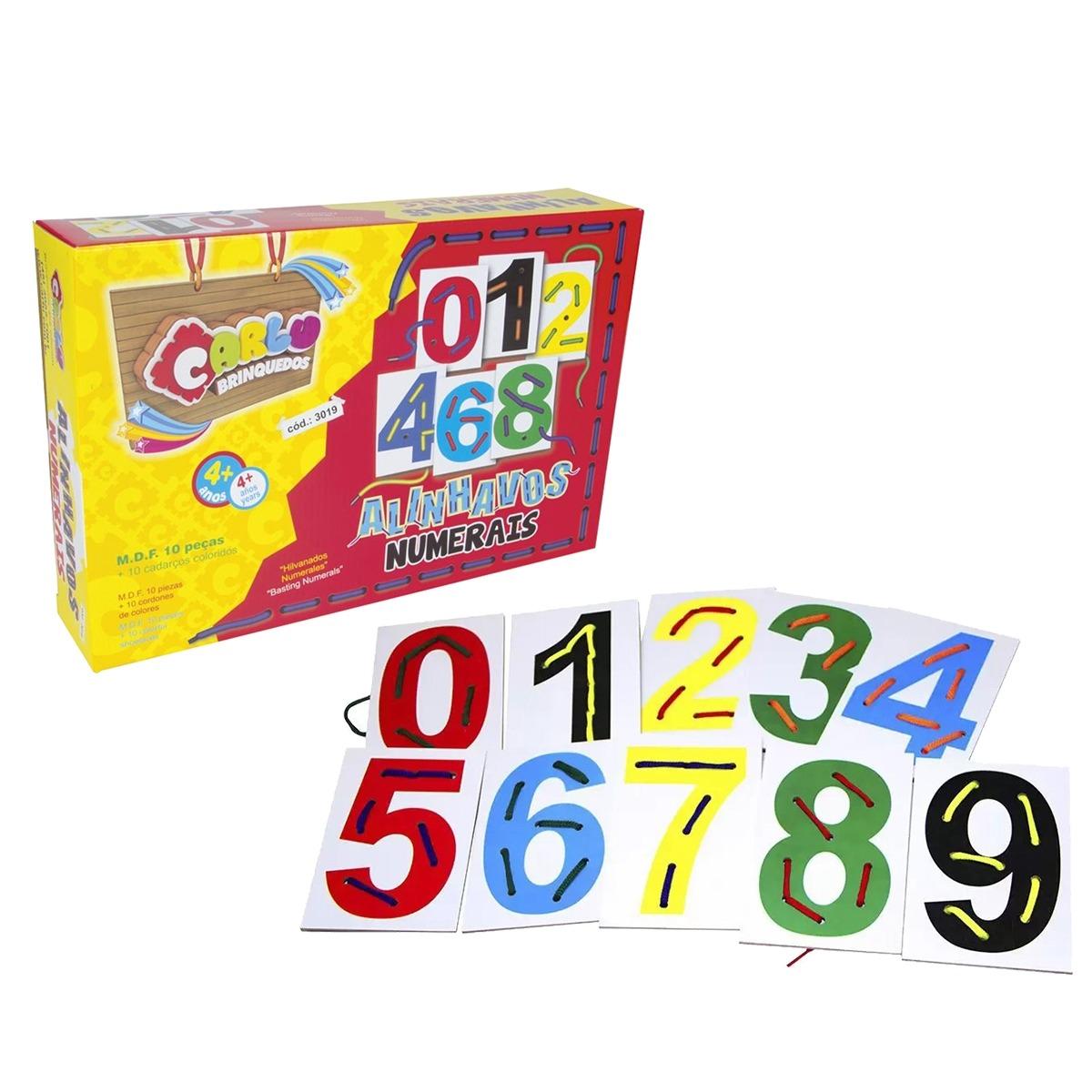 Jogo Educativo Alinhavos Numerais 10 Peças Em M.D.F+ 10 Cadarços Coloridos Carlu 3019