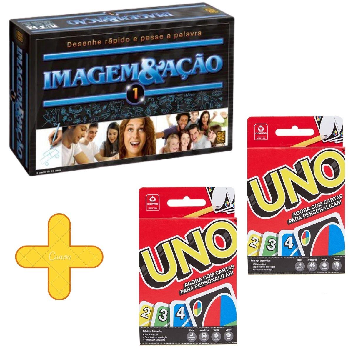 Jogo Imagem e Ação 1 Grow + 02 Jogos De Cartas Uno Copag