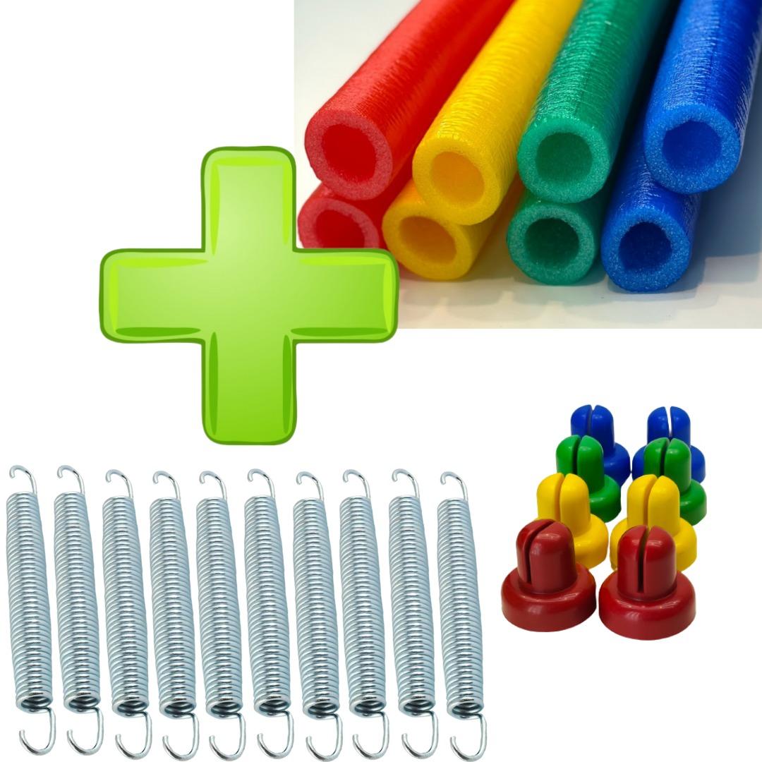 Kit  Acessórios Para Cama Elástica 8 isotubos + 8 Ponteiras + 10 Molas 18cm Zincada