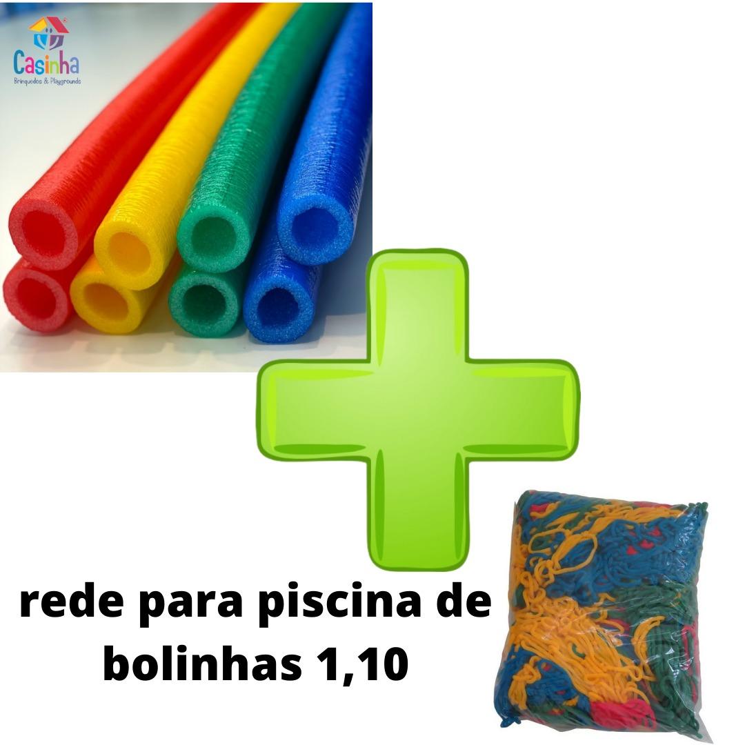 Kit Acessórios Para Piscina De Bolinhas 4 Isotubos Coloridos + Rede De Proteção Piscina 1,10