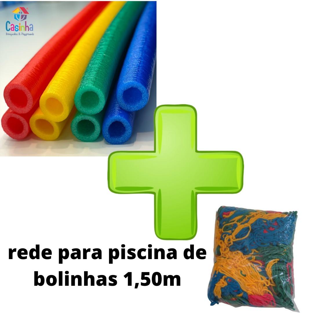 Kit Acessórios Para Piscina De Bolinhas 4 Isotubos Coloridos + Rede De Proteção Piscina 1,50m