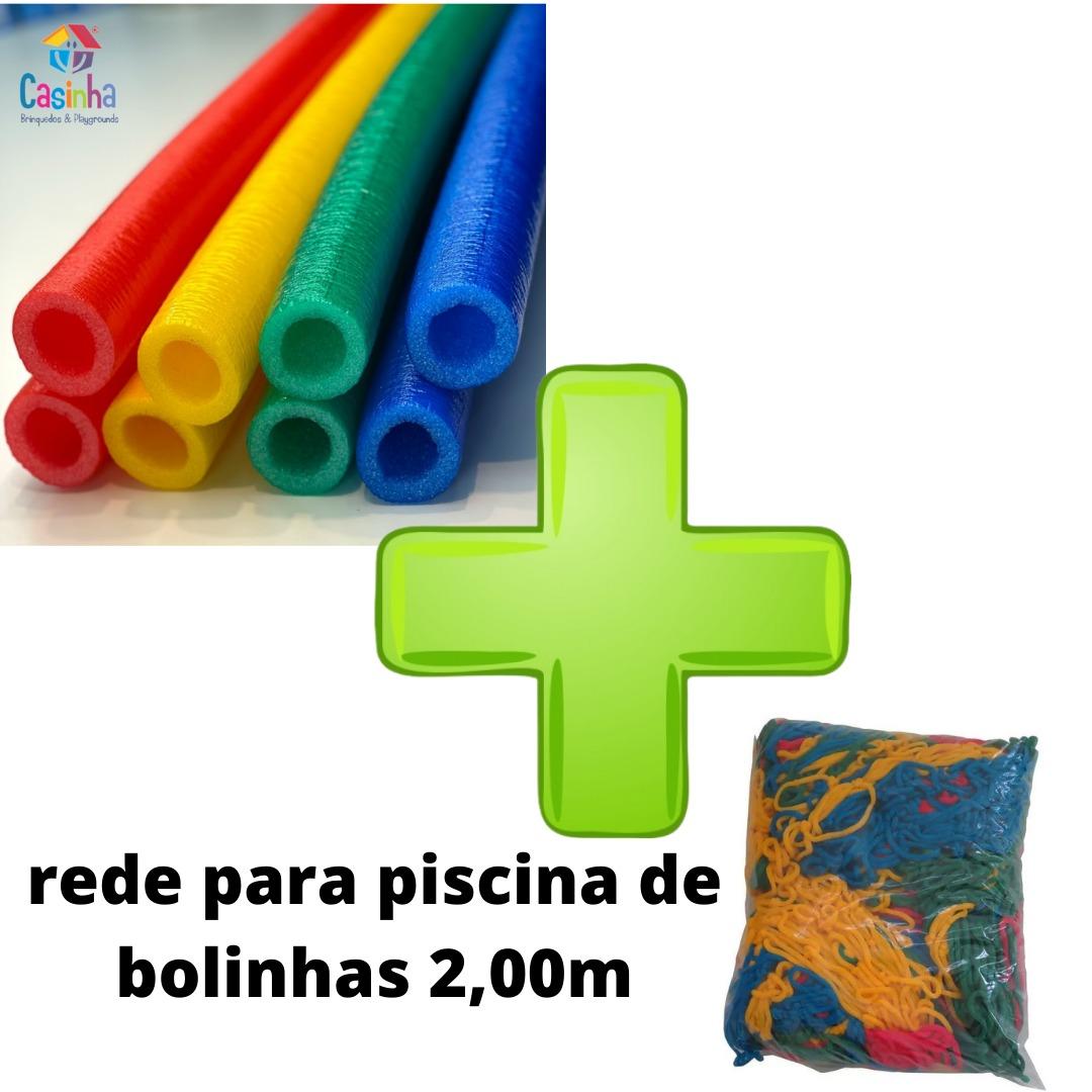 Kit Acessórios Para Piscina De Bolinhas 4 Isotubos Coloridos + Rede De Proteção Piscina 2,00m