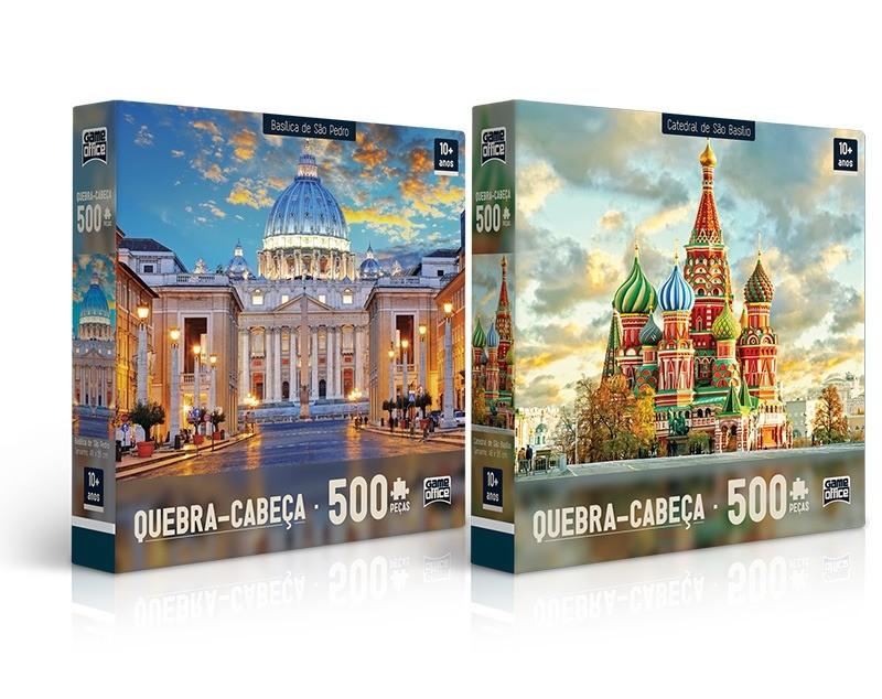Kit Com 02 Quebra Cabeças Puzzle 500 Peças Basílica De São Pedro + Catedral De São Basílio Toyster