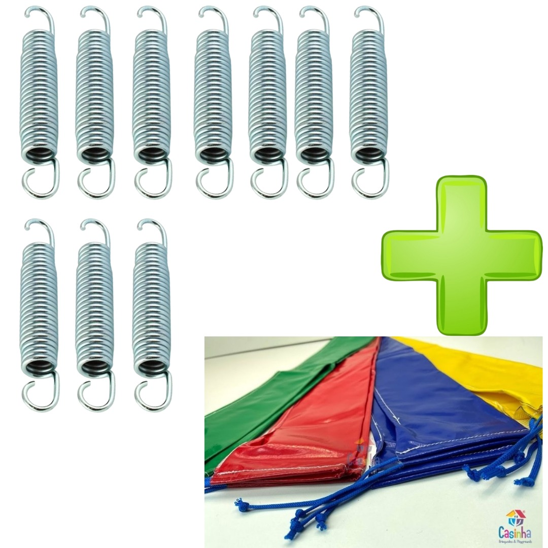 Kit Com 10 Molas Biconica 14cm Zincada + 8 Capas Para Haste Combo Acessórios Para Cama Elástica
