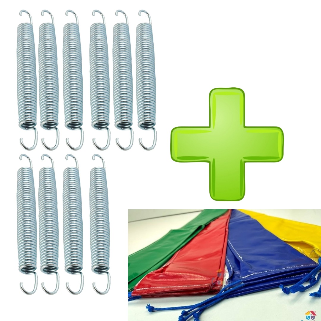 Kit Com 10 Molas Biconica 18cm Zincada + 8 Capas Para Haste Combo Acessórios Para Cama Elástica