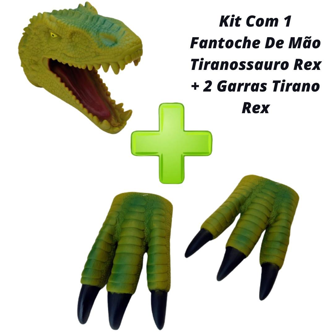 Kit Com 1 Fantoche De Mão Tiranossauro Rex + 2 Garras Tirano Rex Adijomar
