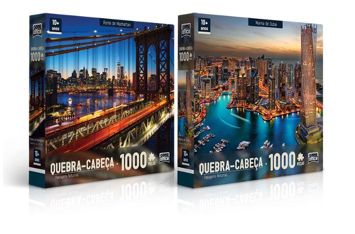 Kit com 2 Quebra Cabeças De 1000 Peças Marina De Dubai e Ponte De Manhattan  Paisagens Noturnas Toyster