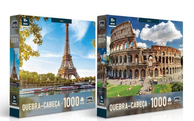 KIt Com 2 Quebra Cabeças de 1000 Peças Paris e Roma Toyster
