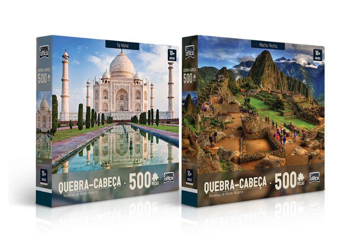 Kit com 2 Quebra Cabeças De 500 Peças Machu Picchu e Taj Mahal Maravilhas do Mundo Moderno Toyster