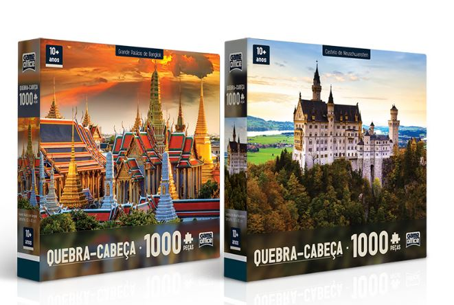 Kit Com 2 Quebra-Cabeças -  Grande Palácio de Bangkok e Castelo De Neuschwanstein 1000 Peças