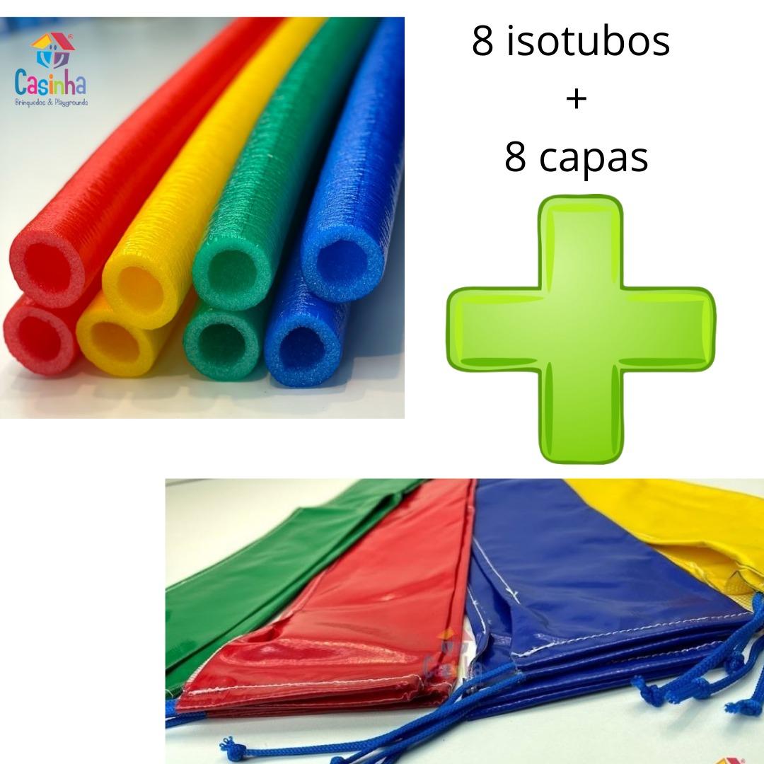 Kit Com 8 Isotubos + 8 Capas Vinilicas Para Isotubo Combo Acessórios Para Cama Elástica