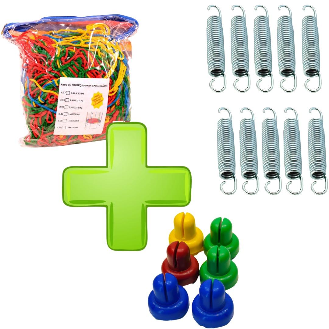 Kit De Acessórios Cama Elástica Rede De Proteção Colorida 2,00m + 6 Ponteiras + 10 Molas 14cm Zincada