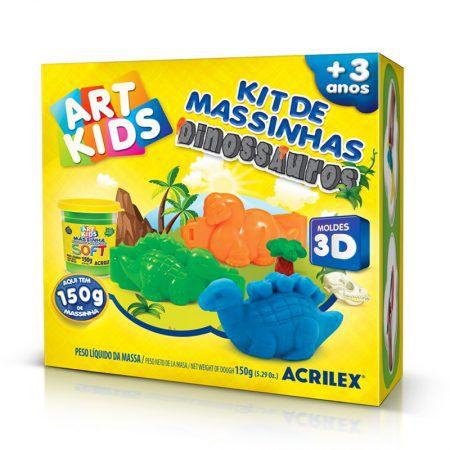 KIT DE MASSINHAS DINOSSAUROS 3D ? COR ÚNICA ACRILEX