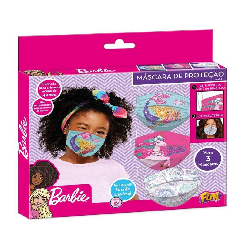 Kit Mascara De Proteção Reutilizável Barbie Fun
