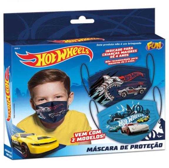 Kit Máscara De Proteção Reutilizável Hot Wheels Fun