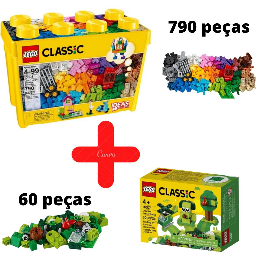Lego Classic Caixa Grande De Peças Criativas 10698 + Lego Classic Peças Verdes Criativas 11007
