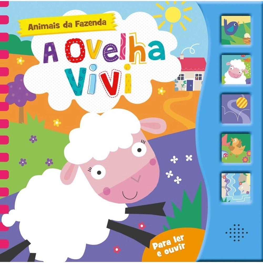 Livro Infantil Cartonado Com Som Animais da Fazenda A Ovelha Vivi
