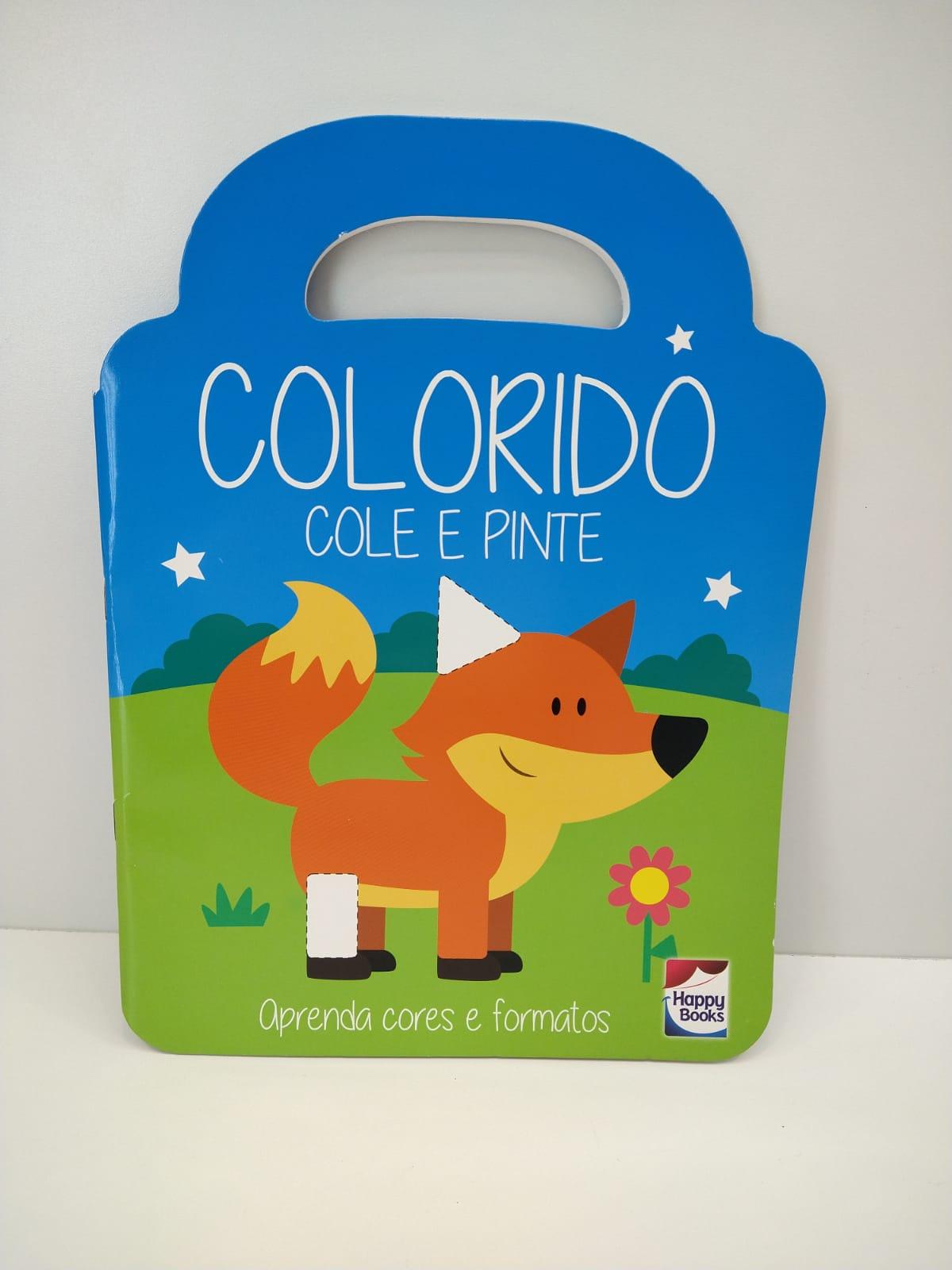 Livro Infantil Colorido Cole e Pinte Happy Books