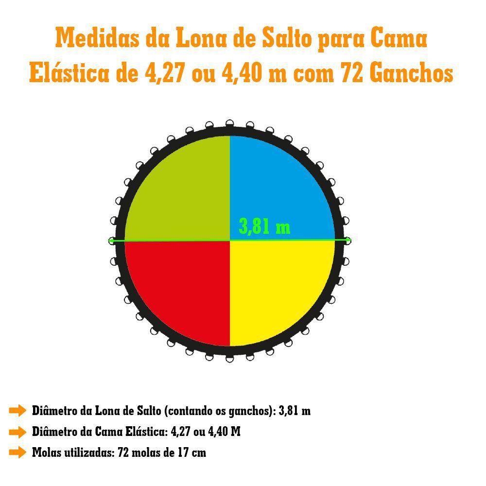 LONA DE SALTO COLORIDA CAMA ELASTICA DE 4,27M 72 MOLAS - 1671