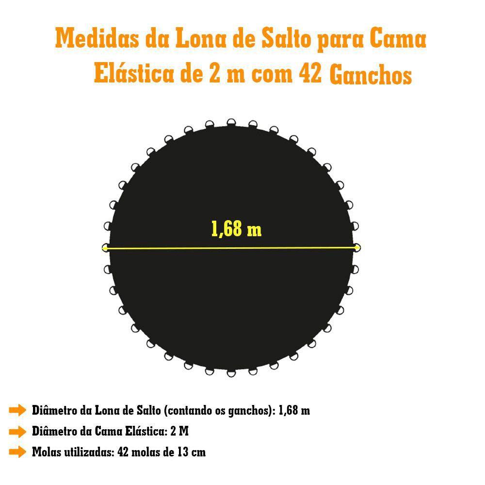 LONA DE SALTO PRETA CAMA ELASTICA DE 2,00M 42 MOLAS 1808