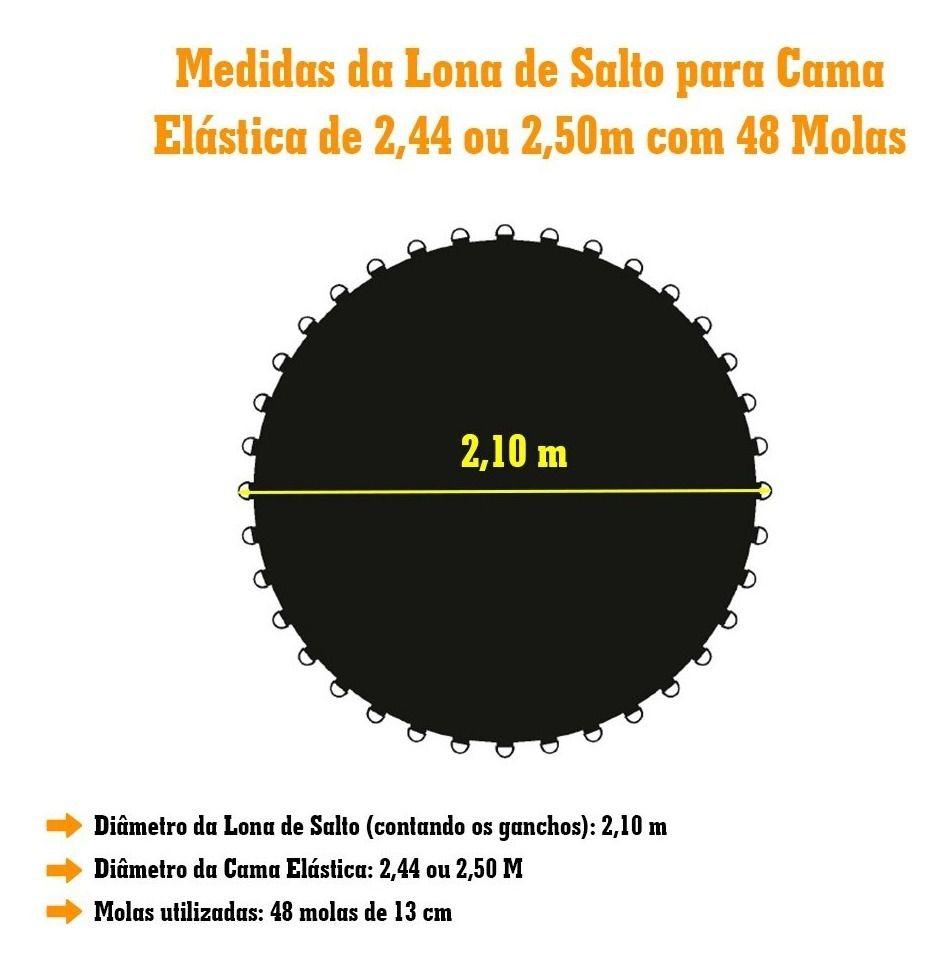 LONA DE SALTO PRETA CAMA ELASTICA DE 2,44M 48 MOLAS 1493