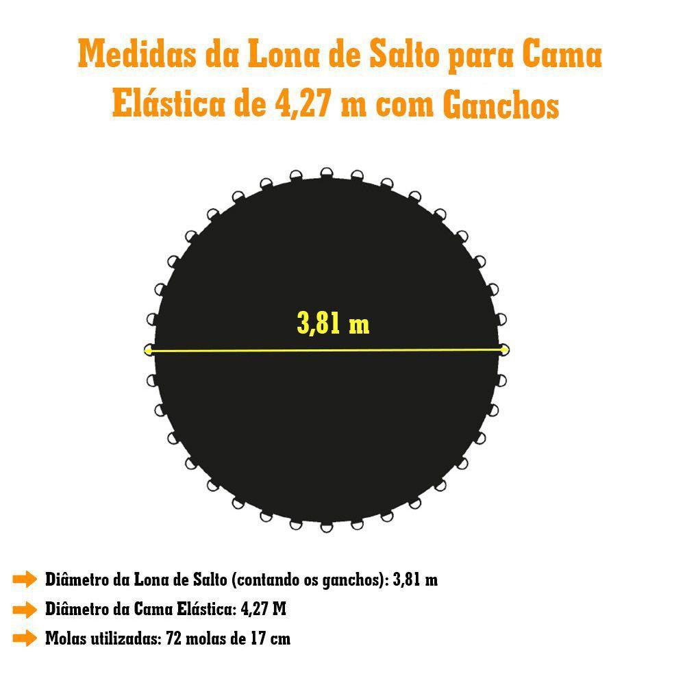 LONA DE SALTO PRETA CAMA ELASTICA DE 4,27 P/ 72 MOLAS 1489