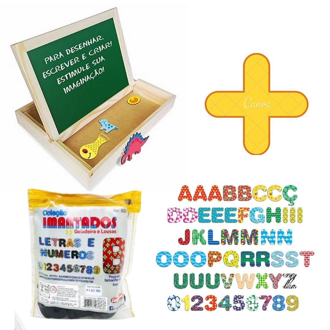 Lousa Magnética Brinquedo Educativo 2 Em 1 + Letras E Números Imantados 5cm Carimbras