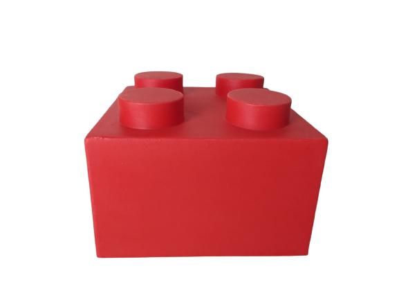 Luminária Temática Bloco Vermelho 15 cm De Altura Usare