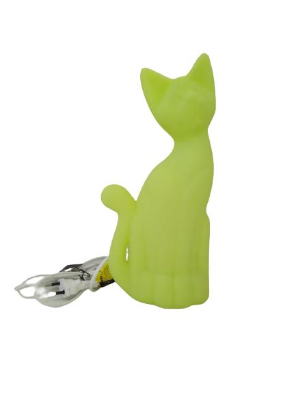Luminária Temática Gato Verde 34 cm De Altura Usare