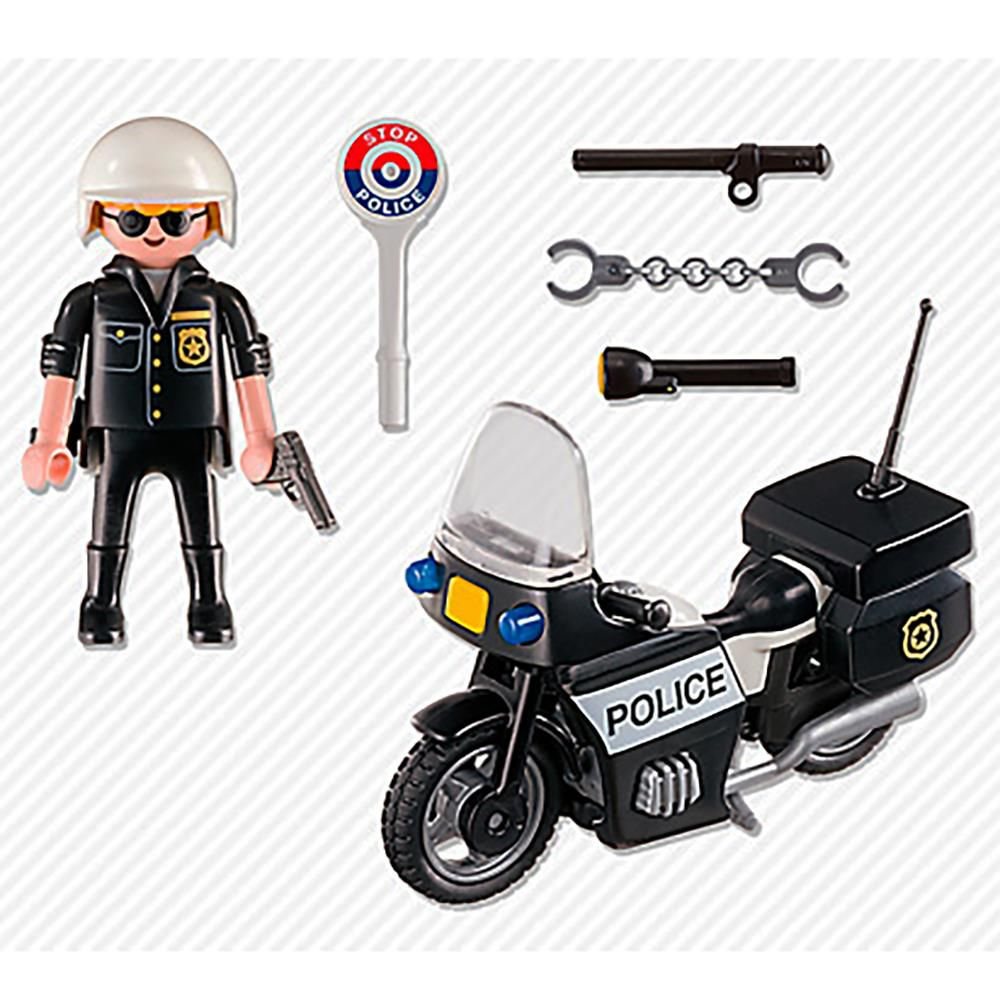 MALETA POLICIAL COM MOTO PLAYMOBIL