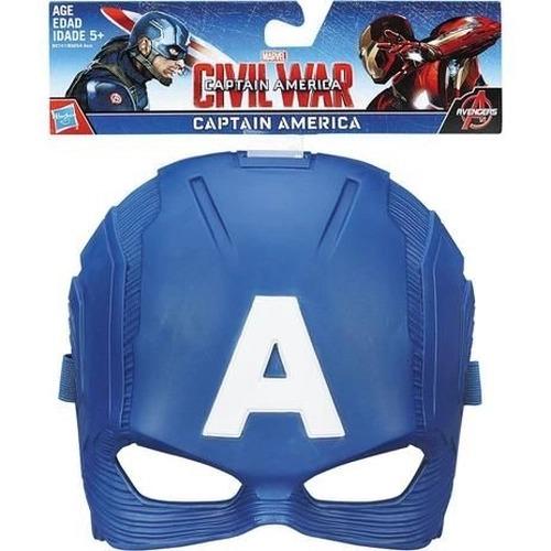 Máscara Infantil Temática Capitão América Guerra Civil Com Apoio Emborrachado Hasbro