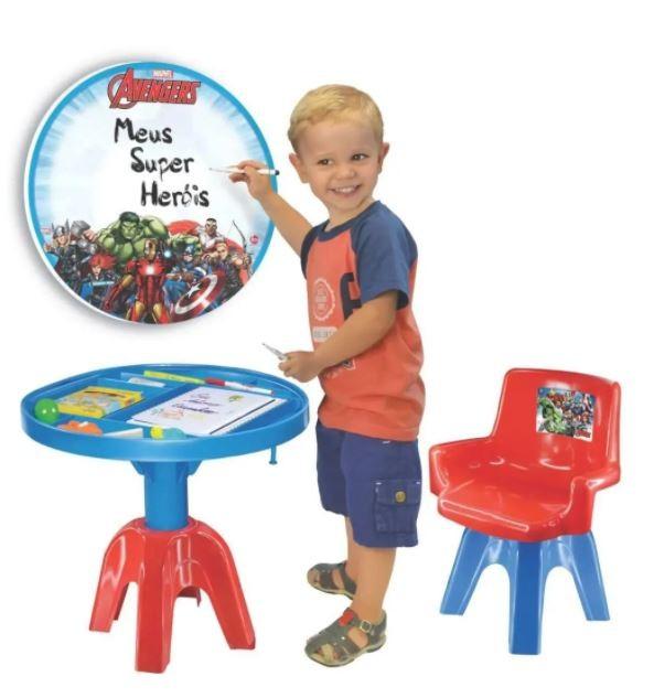 Mesa Infantil De Atividades Avengers Com Cadeira Lider