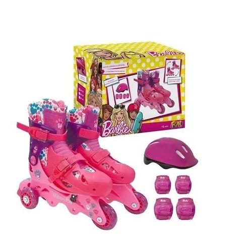 Patins Infantil Ajustável 29 ao 32 Barbie Rosa Com Acessórios De Segurança Triline e Inline Fun