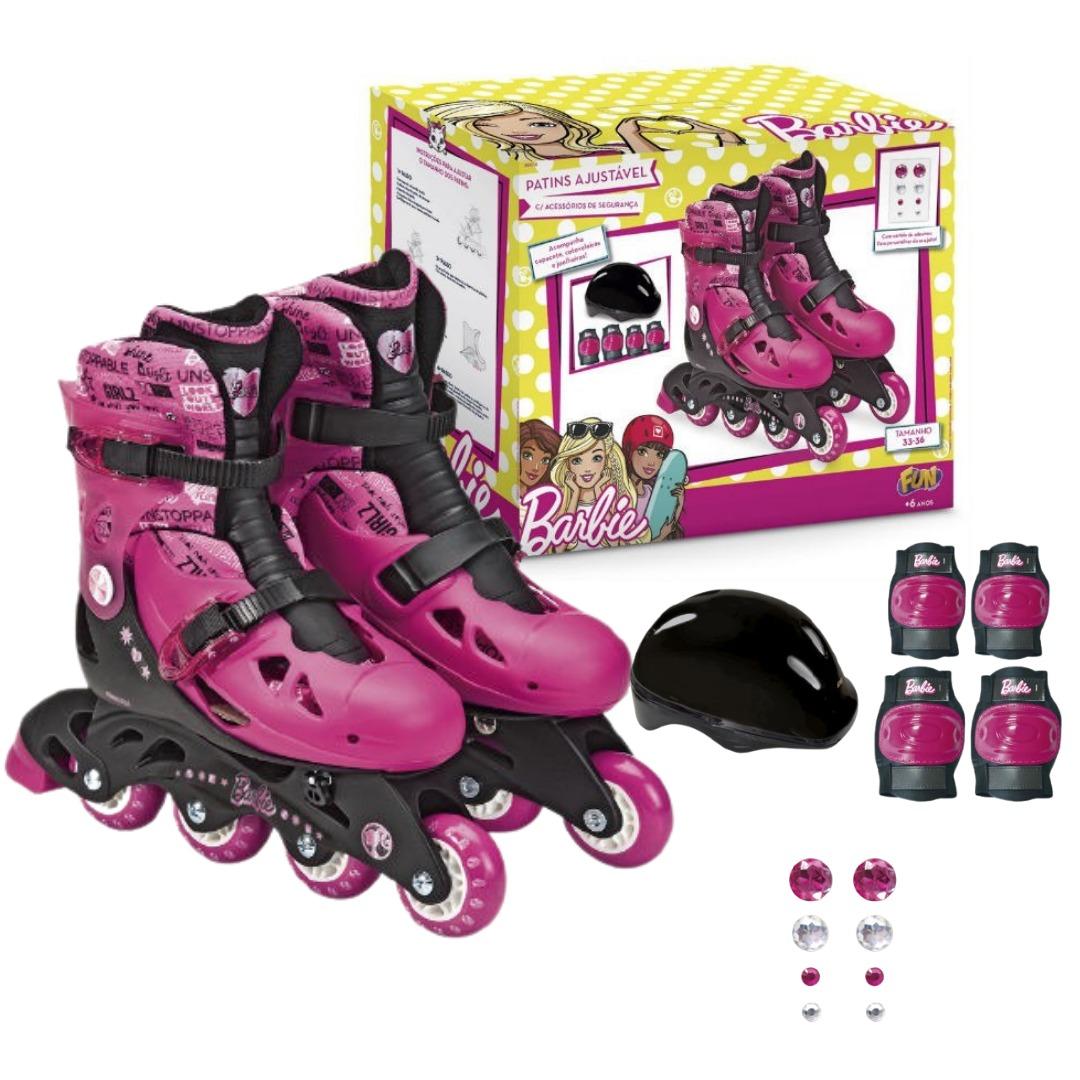 Patins Infantil Barbie Ajustável Do 33 Ao 36 Preto/Rosa Com Acessórios De Segurança + Cartela De Adesivos Fun