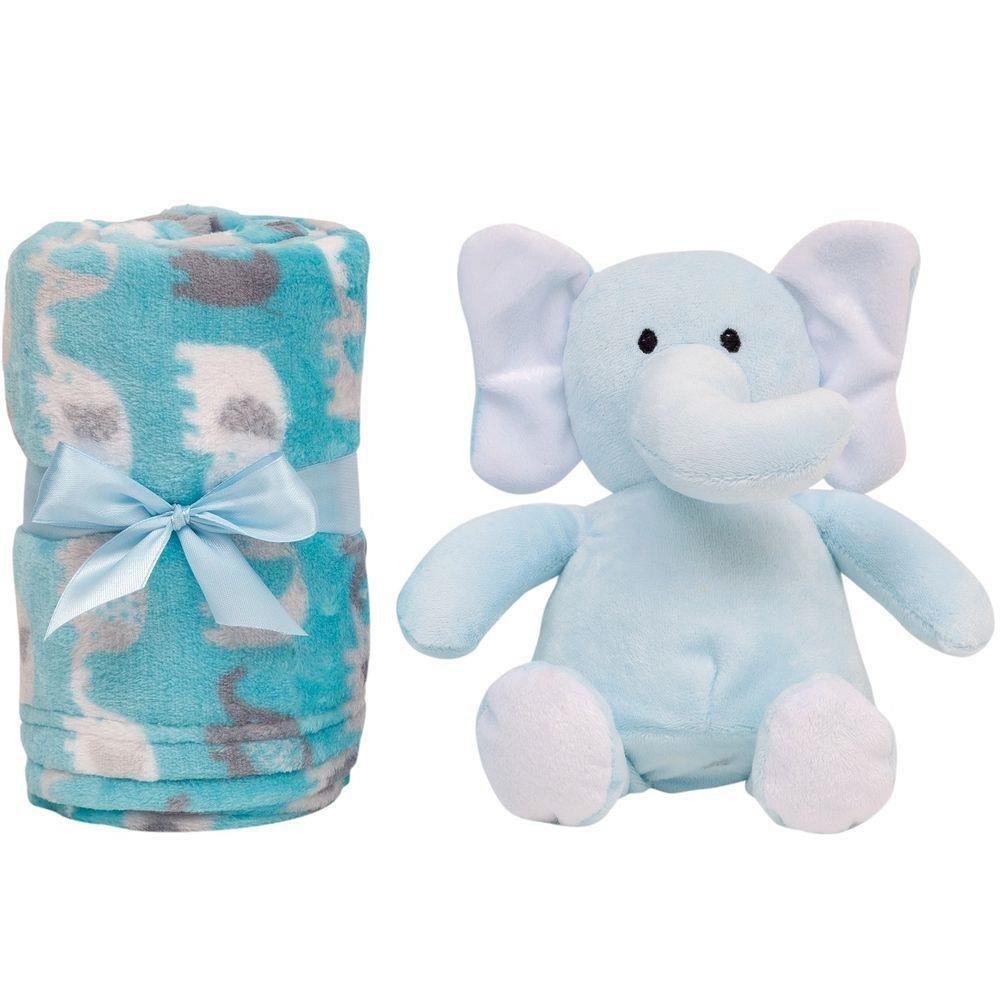 Pelúcia Gift Elefantinho Azul + Mantinha Para Bebê Buba 5964