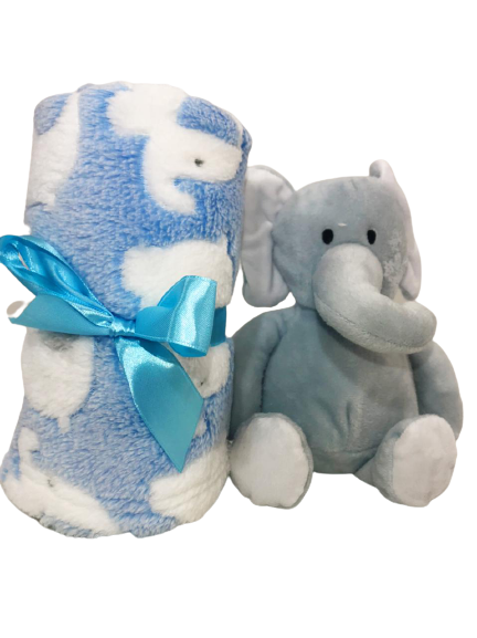 Pelúcia Gift Elefantinho Cinza + Mantinha Para Bebê Buba 5964