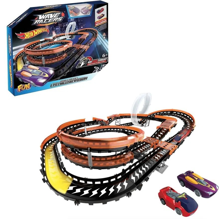Pista De Percurso Hot Wheels Wave Racers Epic Challenge Speedway Carrinhos Com Sensor De Aceno Para Correr Fun
