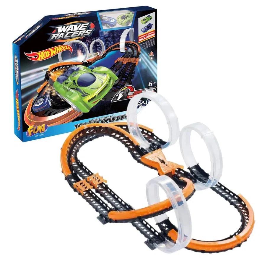 Pista De Percurso Hot Wheels Wave Racers Triple Sky Loop Raceway Carrinhos Com Sensor De Aceno Para Correr Fun