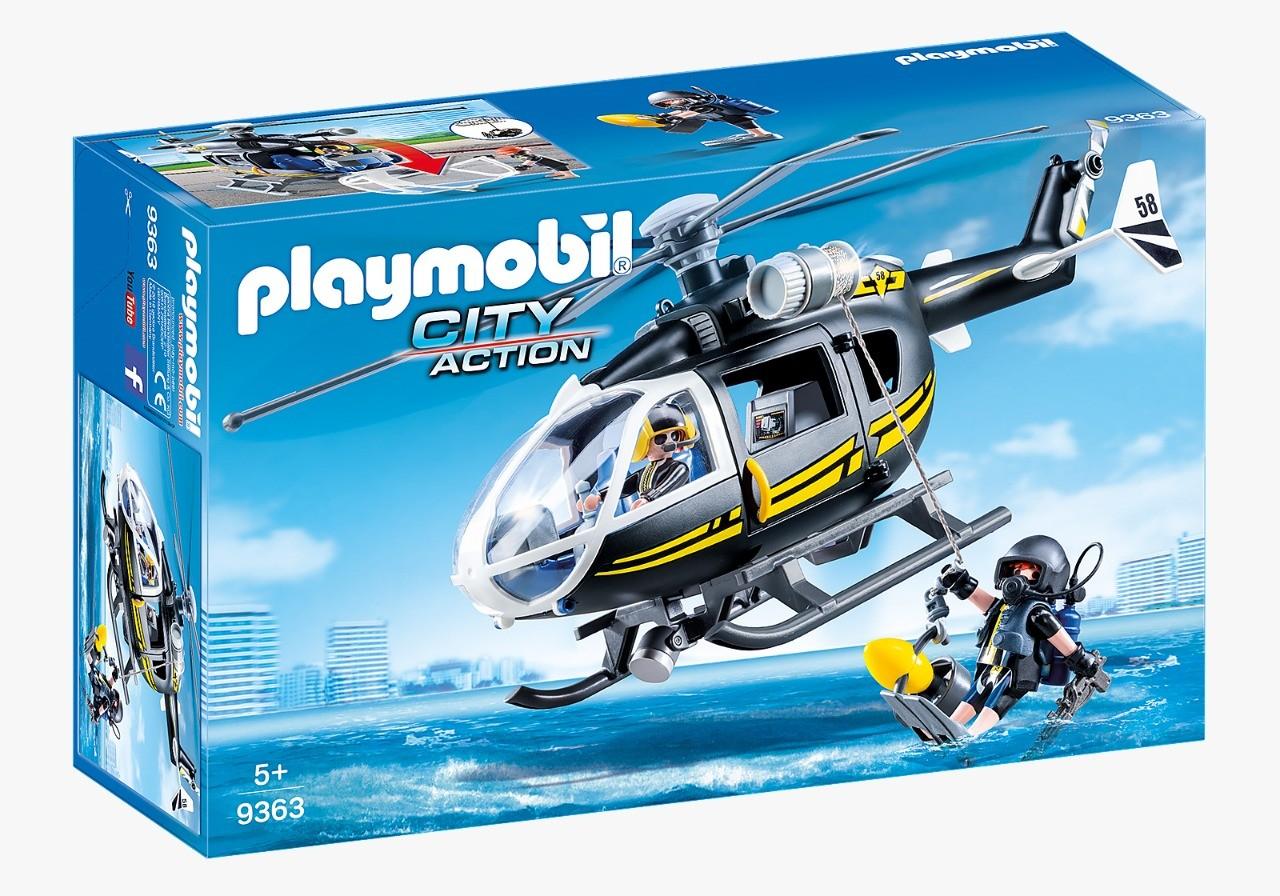 Playmobil City Action Unidade Tática Com Helicóptero Swat e Bonecos 9363 Sunny