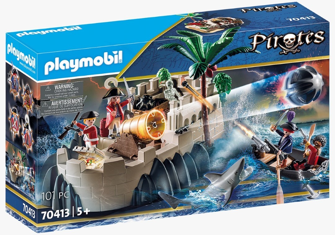Playmobil Piratas Bastião De Casaco Vermelho Barco A Remo Com Canhão 101 Peças 70413