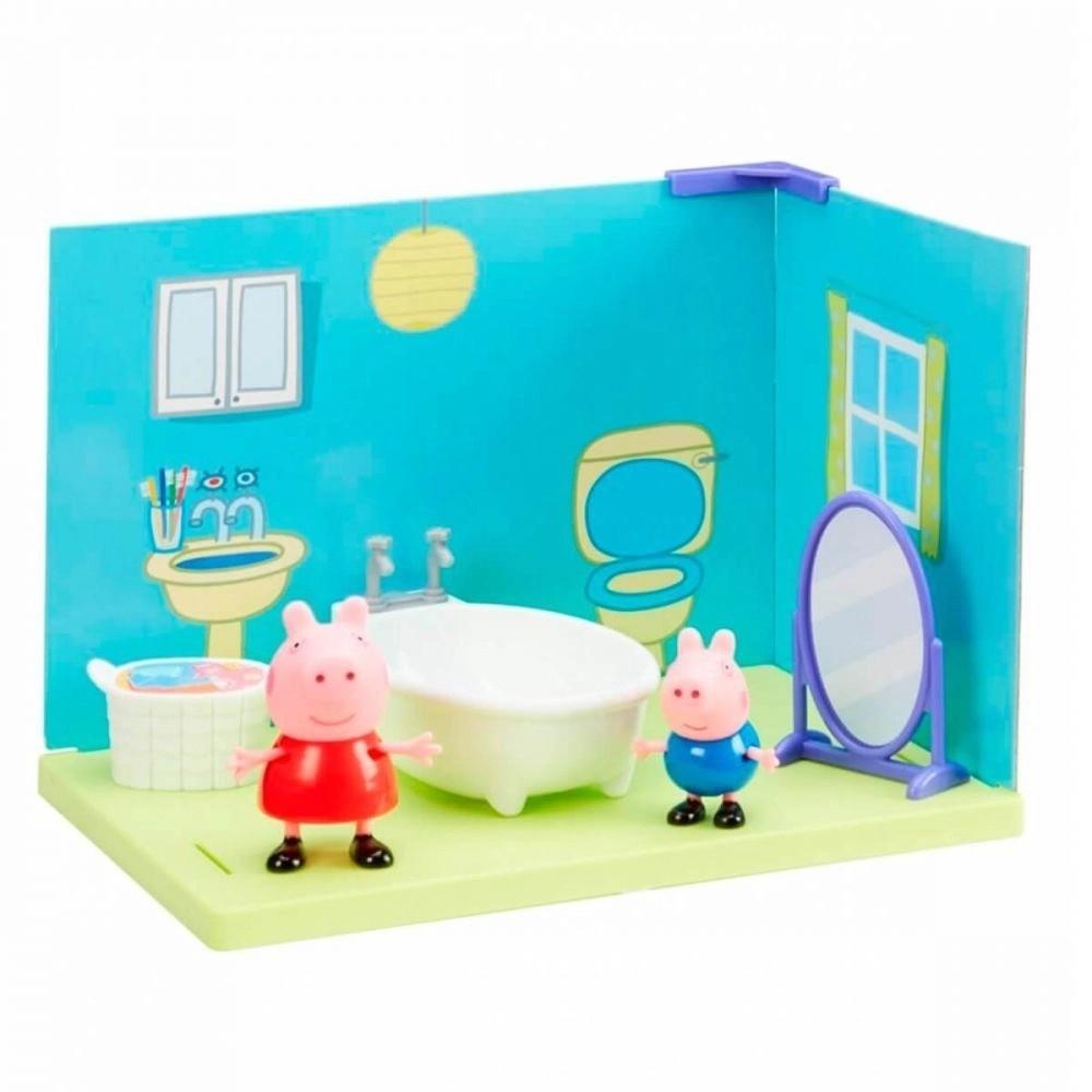 Playset Cenário Da Peppa Pig E Jorge Banheiro Com Acessórios Sunny