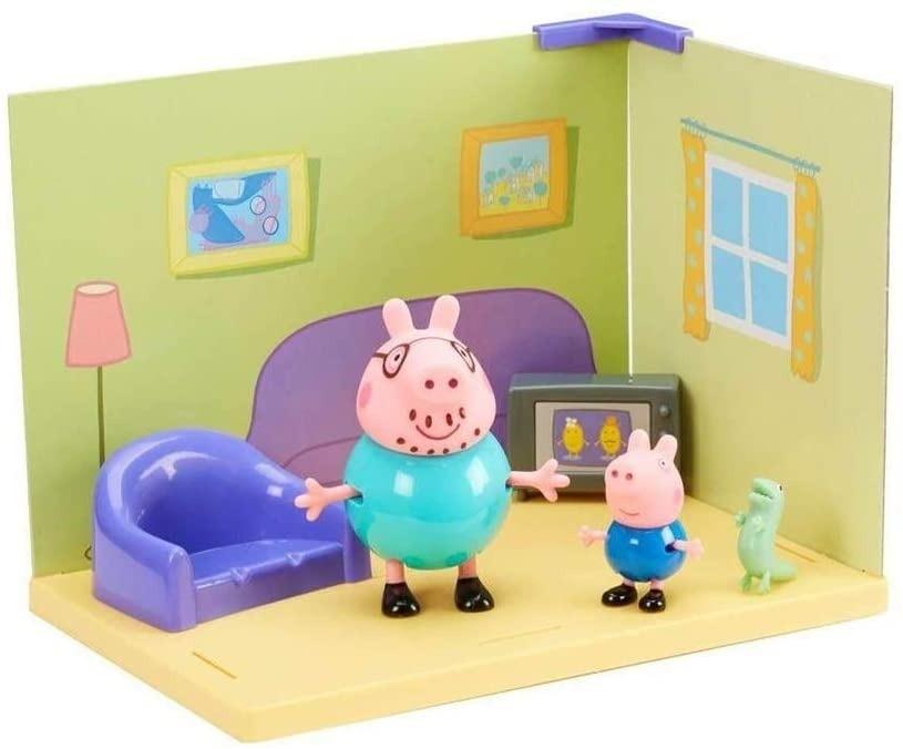 Playset Cenário Da Peppa Sala do George e Do Papai Pig Com Acessórios Sunny