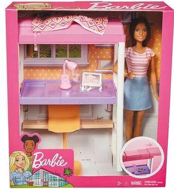 Playset e Boneca Barbie Móveis e Acessórios Quarto e Escritório Morena  Mattel