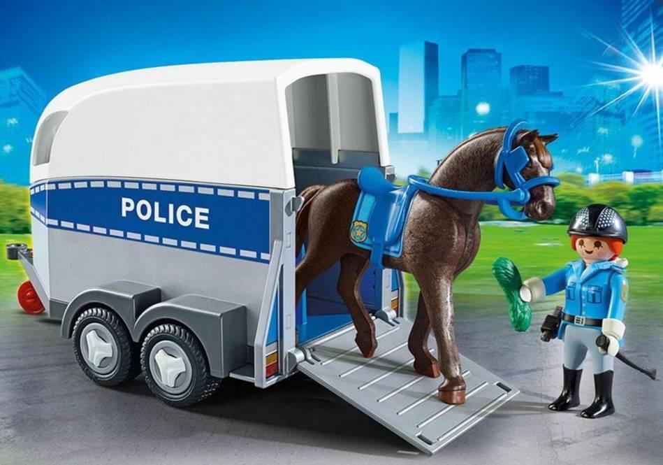 POLICIA MONTADA COM TRAILER PLAYMOBIL