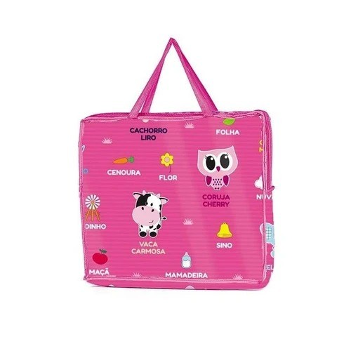 Tapete Educativo Infantil Rosa Dupla Face Turminha Animal Unik