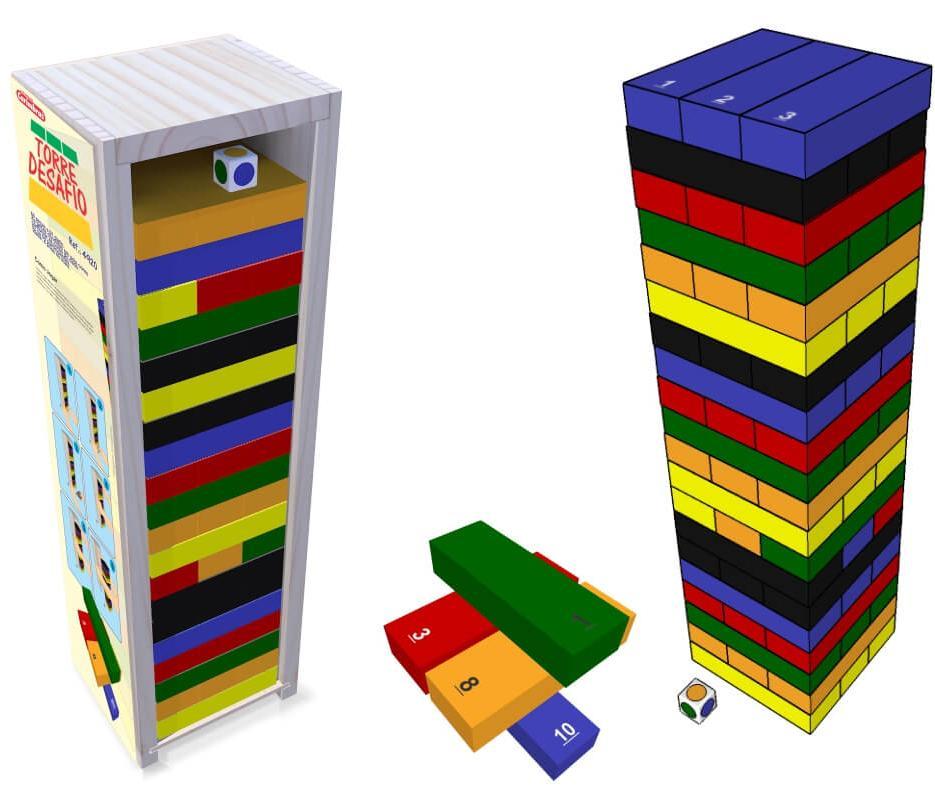 Torre Desafio Brinquedo Educativo em Madeira 4920 Carimbras