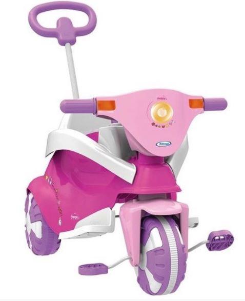 Triciclo Infantil Happy Pink (Rosa) 3 em 1 Xalingo
