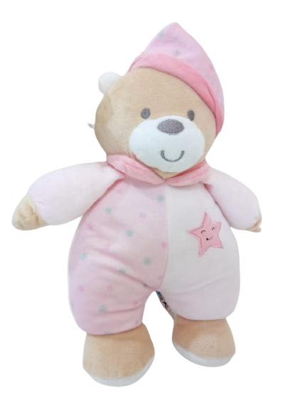 Ursinho de Pelúcia Estrelinha Rosa Baby Musical 28 cm 7994 Buba